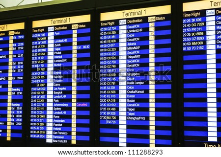Hong kong airport, departure board - stock photo