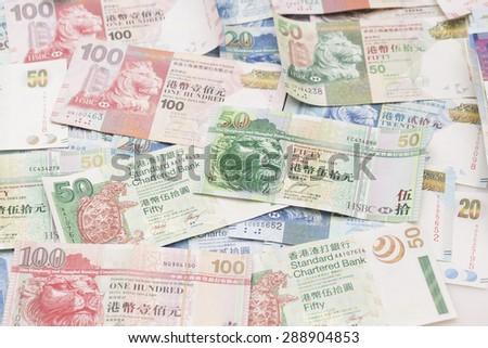 Hong Kong bank notes - stock photo