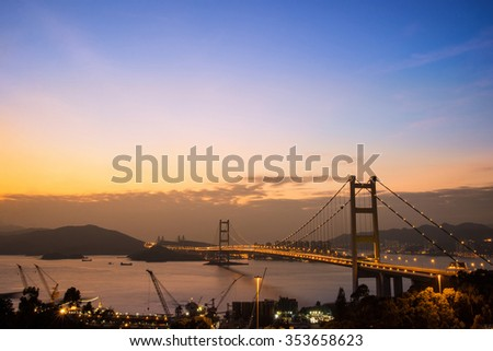 Hong Kong Bridge,It is beautiful Tsing Ma Bridge at sunset in Hong Kong - stock photo
