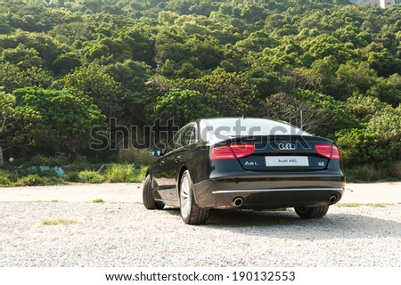 Hong Kong, China April 15, 2011 : Audi A8L Long Base Sedan test drive on April 15 2011 in Hong Kong. - stock photo