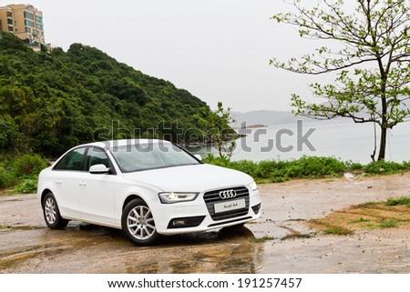 Hong Kong, China April 30, 2013 : Audi A4 Sedan Car test drive on April 30 2013 in Hong Kong. - stock photo