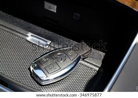 Hong Kong, China Aug 4 2015 : Mercedes-Maybach S 500 2015 Wireless Key on Aug 4 2015 in Hong Kong. - stock photo