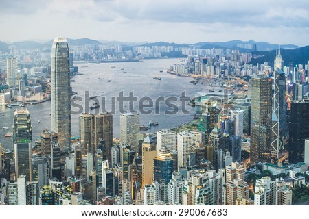 Hong Kong, China - CIRCA 2015, Hong Kong harbour view from aerial point. the famous landmark for Hong Kong. - stock photo