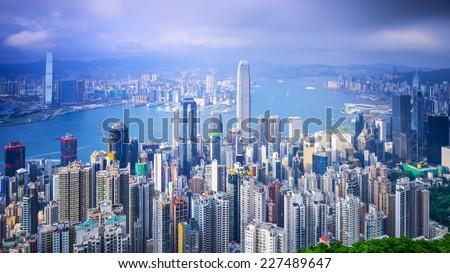 Hong Kong, China city skyline from the Peak. - stock photo