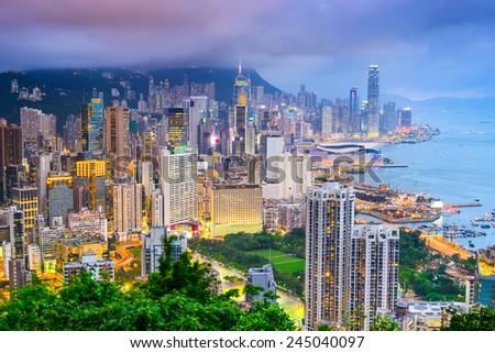 Hong Kong, China City Skyline viewed from Braemar Hill. - stock photo