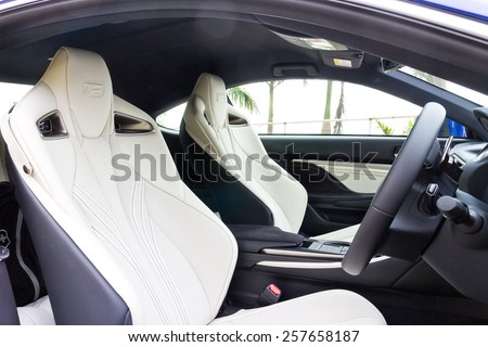 Hong Kong, China Dec 10, 2014 : Lexus RC F 2014 front seat on Dec 10 2014 in Hong Kong. - stock photo