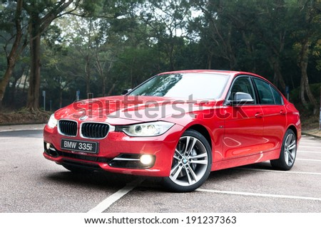 Hong Kong, China Feb 15, 2012 : BMW 335i test drive on Feb 15 2012 in Hong Kong. - stock photo