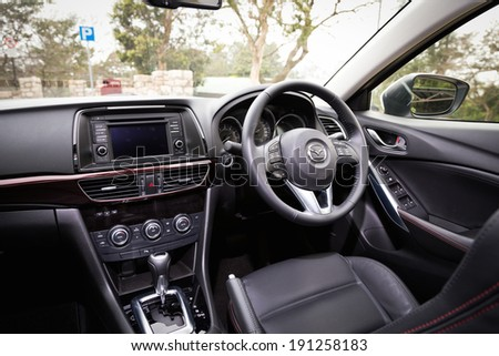 Hong Kong, China Feb 2, 2013 : Mazda6 Saloon Japan Model interior on Feb 2 2013 in Hong Kong. - stock photo