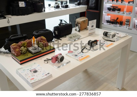 HONG KONG, CHINA - FEBRUARY 04, 2015: Sony store interior. Sony Corporation, commonly referred to as Sony, is a Japanese multinational conglomerate corporation headquartered in Tokyo, Japan - stock photo