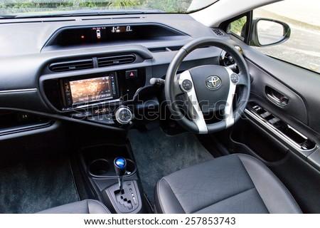 Hong Kong, China Jan 28, 2015 : Toyota Prius C 2015 interior on Jan 28 2015 in Hong Kong. - stock photo