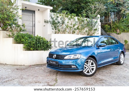 Hong Kong, China Jan 9, 2015 : Volkswagen Jetta 2015 Test Drive on Jan 9 2015 in Hong Kong. - stock photo