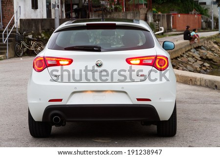 Hong Kong, China June 13, 2012 : Alfa Romeo Giulietta test drive on June 13 2012 in Hong Kong. - stock photo
