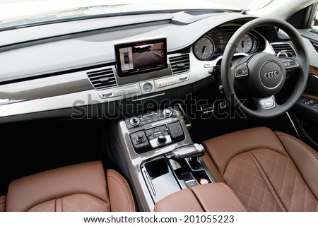 Hong Kong, China June 6, 2014 : Audi S8 top grade interior on June 6 2014 in Hong Kong. - stock photo