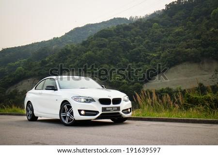 Hong Kong, China March 20, 2014 : BMW 220i 2014 Sedan test drive on March 20 2014 in Hong Kong. - stock photo