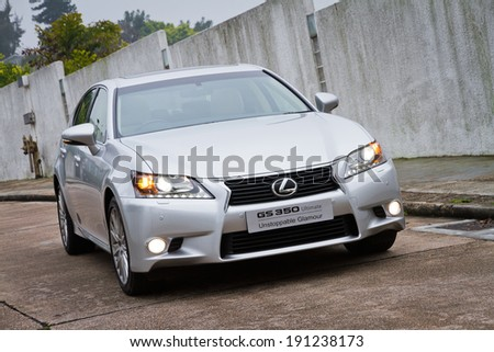 Hong Kong, China March 13, 2012 : Lexus GS 350 test drive on March 13 2012 in Hong Kong. - stock photo