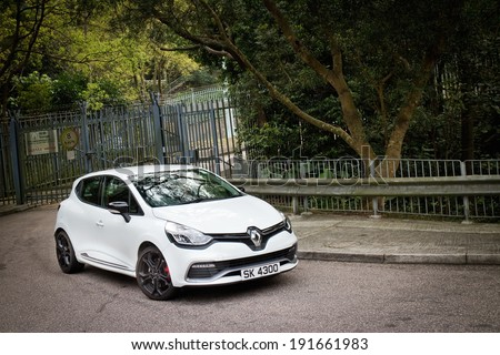 Hong Kong, China March 17, 2014 : Renault Clio RS Cup 2014 test drive on March 17 2014 in Hong Kong. - stock photo