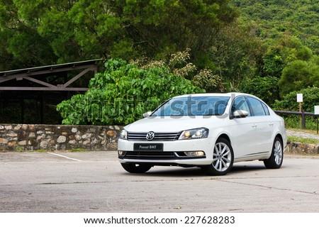 Hong Kong, China Sept 22, 2014 : Volkswagen Passat BMT 2014 test drive on Sept 22 2014 in Hong Kong. - stock photo