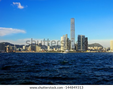 HONG KONG, CHINA-SEPTEMBER 9: A view of the ICC (International Commerce Centre) in West Kowloon and some of the surrounding area on September, 9 2012 Hong Kong, China - stock photo