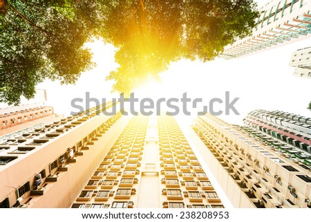 Hong Kong, China. Views of the skyscrapers below. Sunset. Residential house. Trees. - stock photo