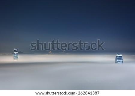 Hong Kong City in Fog - stock photo