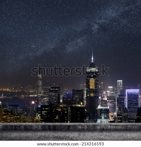 Hong Kong city skyline in night. - stock photo