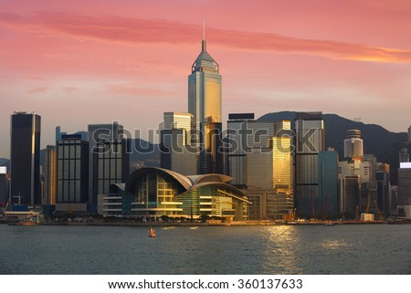 Hong Kong city skyline Victoria harbour, Hong Kong Special Administrative Region of the People's Republic of China. Hong Kong skyline from kowloon - stock photo