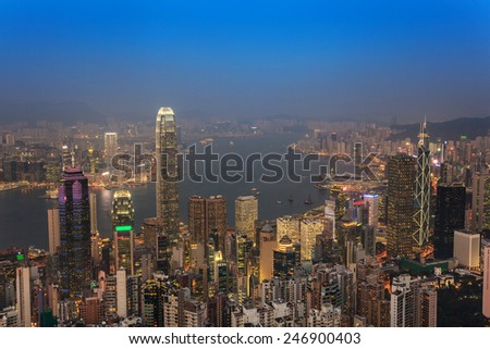 Hong Kong city skyline view from The Victoria Peak - stock photo