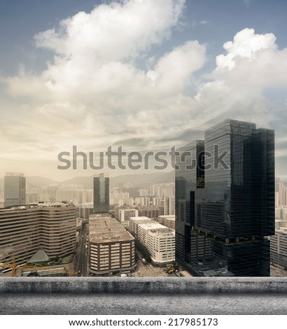 Hong Kong city skyline with skyscraper. - stock photo