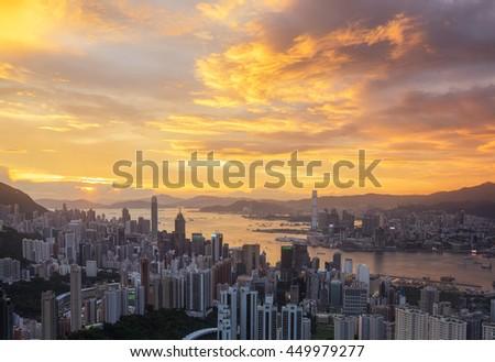 Hong Kong City Sunrise (Night to day shot) at Victoria park - stock photo