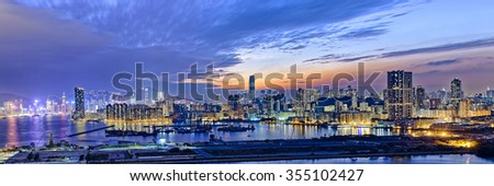 Hong Kong city sunset view from kowloon side - stock photo