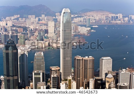 Hong Kong city view from Victoria peak - stock photo