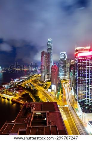 Hong Kong cityscape at night - stock photo