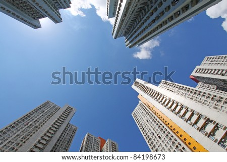 Hong Kong crowded apartment blocks, it shows the lack of space in this city with many people living inside. - stock photo