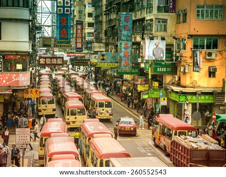 HONG KONG - DEC 9 : Old street on Dec 9, 2013 in Hong Kong. With land mass of 1104 km and 7 million people, Hong Kong is one of most densely populated areas in the world. - stock photo