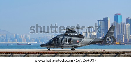 Hong Kong, December 4, 2013: Helicopter of government flying service in Hong Kong - stock photo