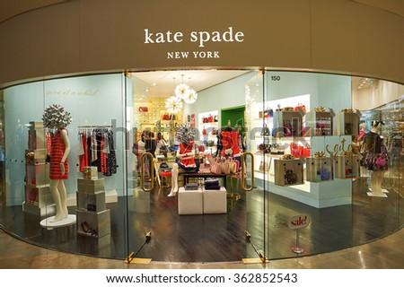 HONG KONG - DECEMBER 25, 2015: Kate Spade store in Hong Kong. Kate Spade New York is an American fashion design house founded as Kate Spade Handbags - stock photo