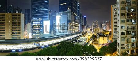 Hong Kong downtown at night - stock photo