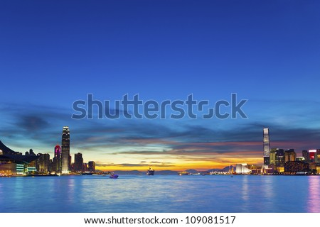 Hong Kong downtown at sunset - stock photo