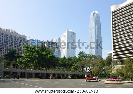 HONG KONG - FEBRUARY 23: Central business district on February 23, 2013 in Hong Kong. Hong Kong is an international financial centre that has 112 buildings that stand taller than 180 metres - stock photo