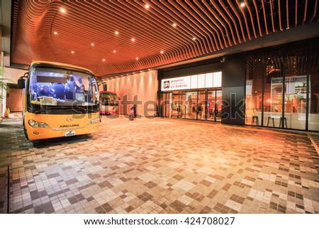 HONG KONG - FEBRUARY 23,2016 : The bus for the tourist at famous hotel in down town in Hong Kong. - stock photo
