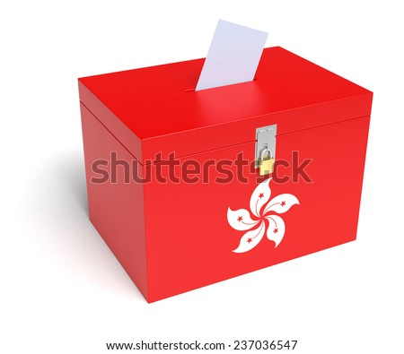 Hong-Kong Flag Ballot Box. Isolated white background. 3D Rendering. - stock photo
