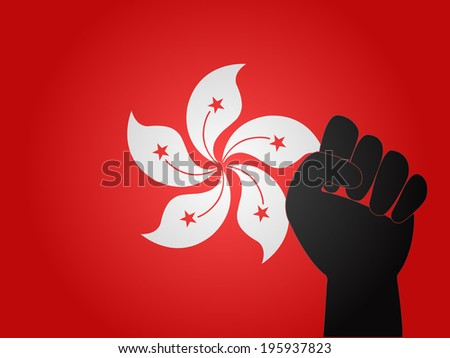 Hong Kong Flag with Protest Sign - stock photo