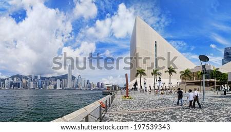 Hong Kong harbour at day , Tsim Sha Tsui Waterfront Promenade  - stock photo