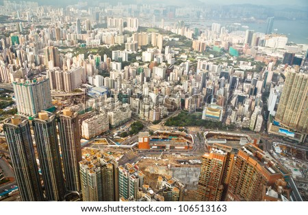 Hong Kong High angle View From One Hundred Floors Building - stock photo