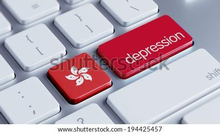 Hong Kong High Resolution Depression Concept - stock photo