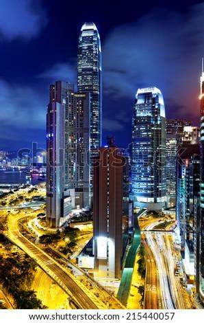 Hong Kong highrise buildings at night  - stock photo