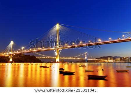 hong kong highway bridge at night - stock photo