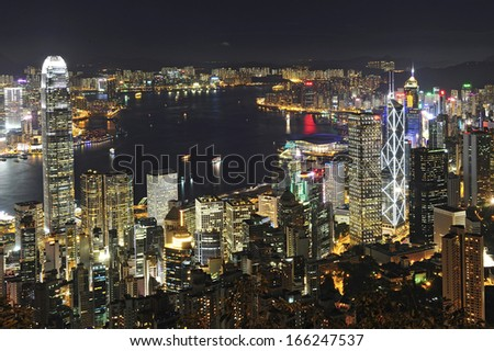 HONG KONG - JULY 03: Cityscape of Hong Kong island from Victoria peak on July, 03, 2012. The Victoria Harbour is world-famous for its stunning panoramic night view and skyline.  - stock photo