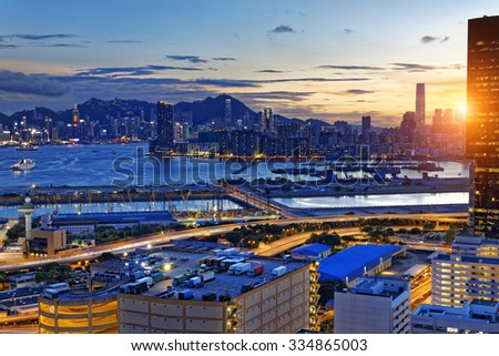 Hong Kong Kowloon at night - stock photo
