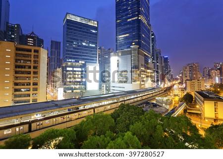 Hong Kong kwun tong downtown at night - stock photo